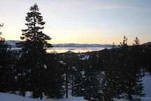 View of the Lake Tahoe at sunset.
