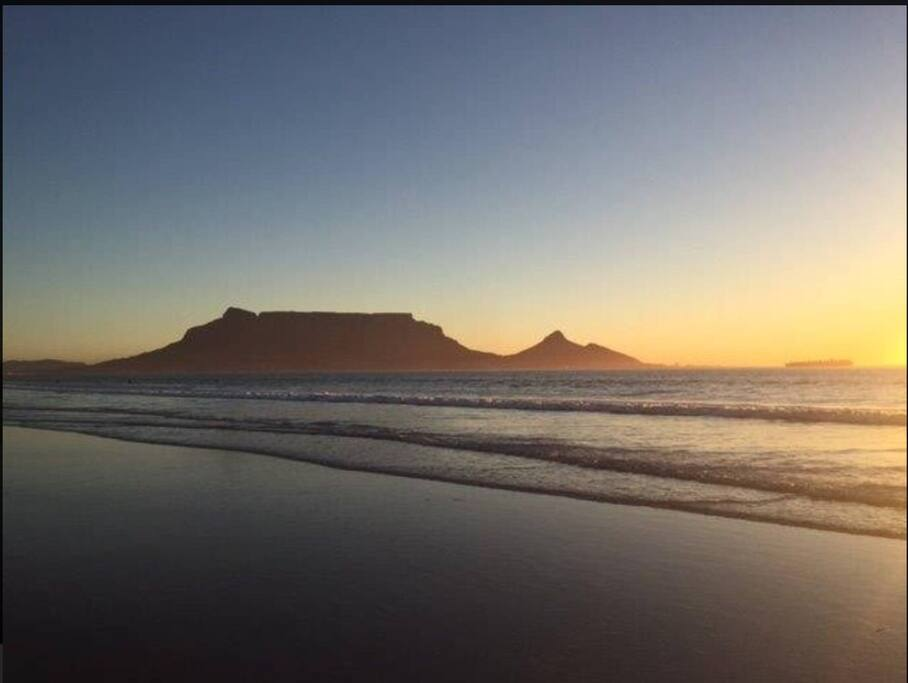 The view of Table Mountain from our beach