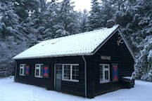In Winter the cottage is picturesque on the outside, cosy and comfortable on the inside