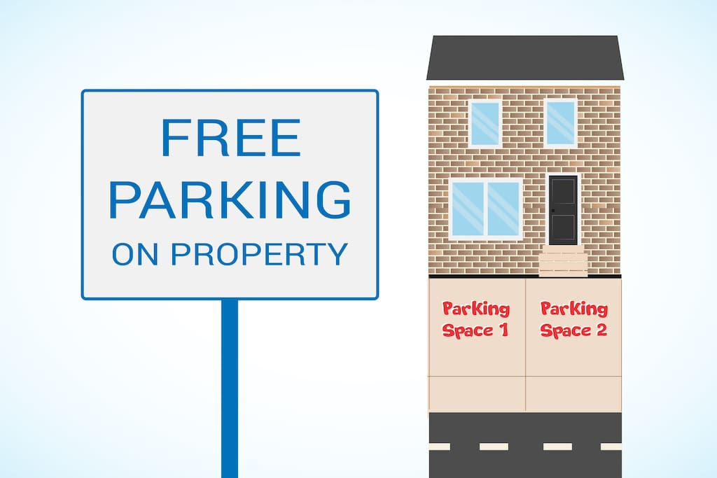 Free 2 car parking right on our property.