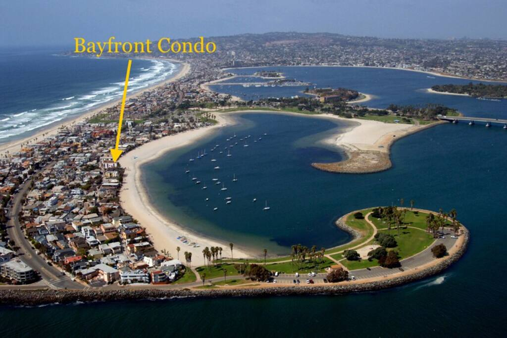 This is the location of the Bayfront Condo in Mission Beach, which has a beautiful view of Mission Bay and just a couple minutes walk to the ocean.
