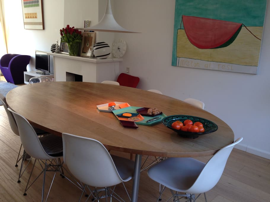 A large family table seats 8 people easily
