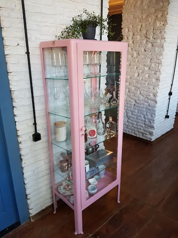 This is a Soviet-time refurbished medical cabinet with glasses and cups from the sixties.