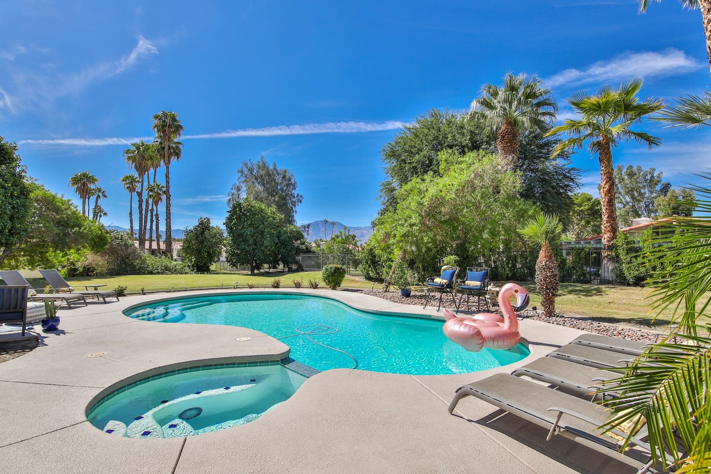 Large Pool with Sun and Shade All Day Private Pool and Spa Resort Home with Mountain Views and Large Natural Grass Yard.