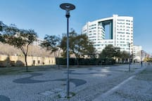 Arquitetura moderna como vizinha.