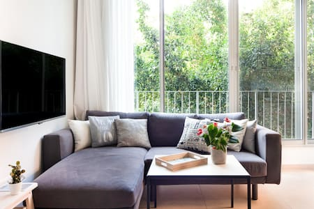 On Rabin Square an Amazing, New, Quiet Garden View Apartment