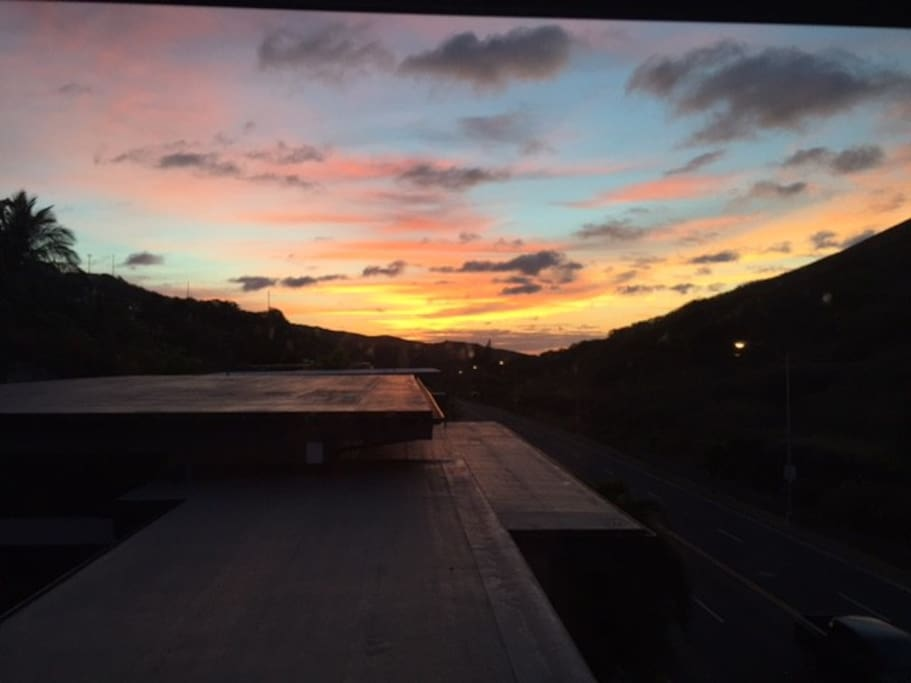 Awesome Morning View from 2nd floor, lovely hawaiian  wakup call.