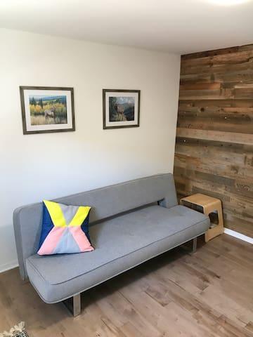 Salon avec un canapé-lit.