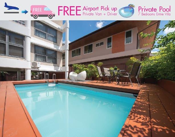 7BR Pool Villa BTS Phrom Phong FREE Van+Driver