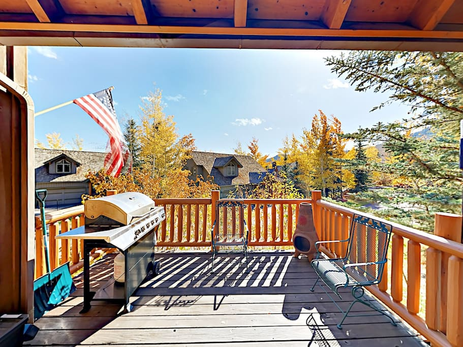 Private deck with gas grill, seating for 4, and chimenea.