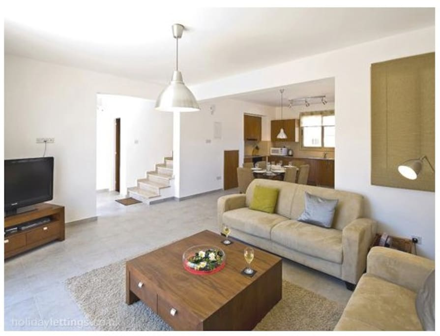 The living room and kitchen are equipped for comfort