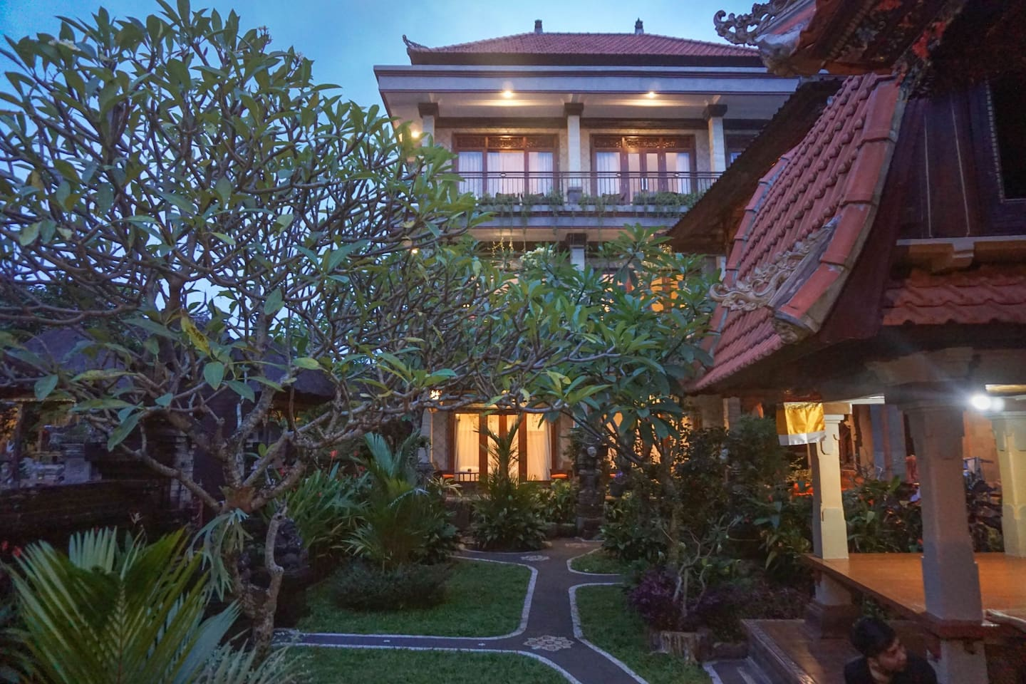 Brand new builing in traditional balinese garden
