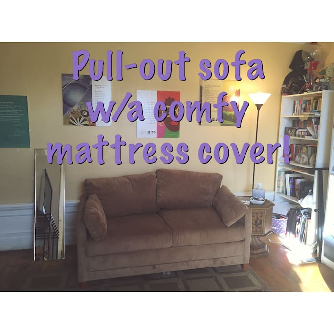 Sleeper sofa that sleeps one comfortable. Perfect for a teen or tween who stays up later than younger kids in the other room