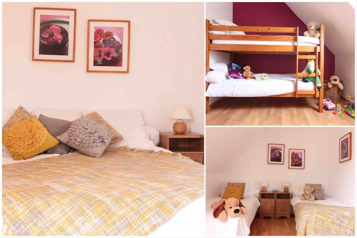 Bedroom 4 - sleeps 4 persons. Singles or double configuration and a bunk bed to keep the younger ones amused! This bedroom is on the first floor.
