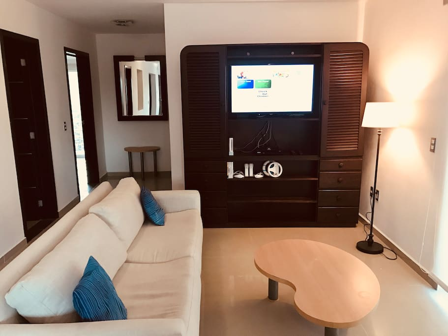 The living room entertainment center includes a netflix enabled smart tv, dvd player with a variety of movies and a wii game console