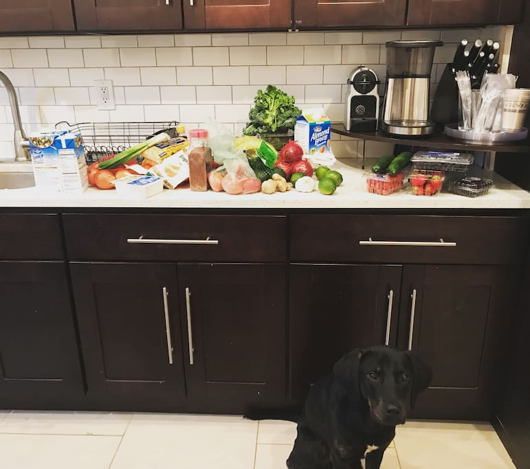 A bit of the kitchen. Don't mind our pup!