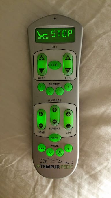Your remote control for your bed... adjust positions, many types of massages...