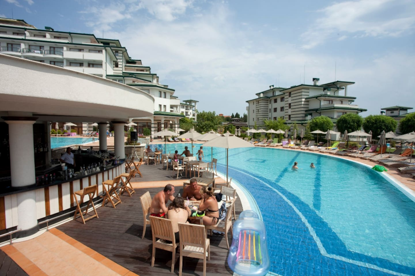The main pool and the bar