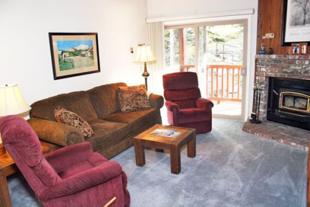 Mammoth Condo Rental Chamonix A12 - LR with Queen Sofa Sleeper and Fireplace