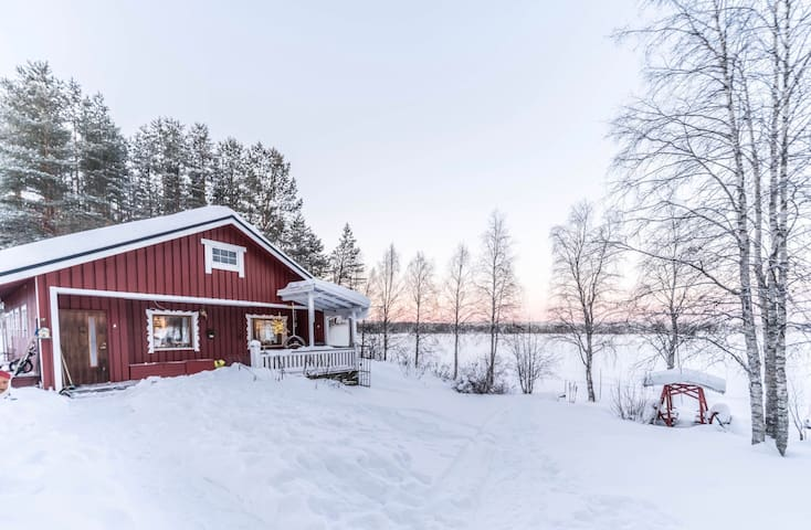 Traditional lodge by a beautiful lake