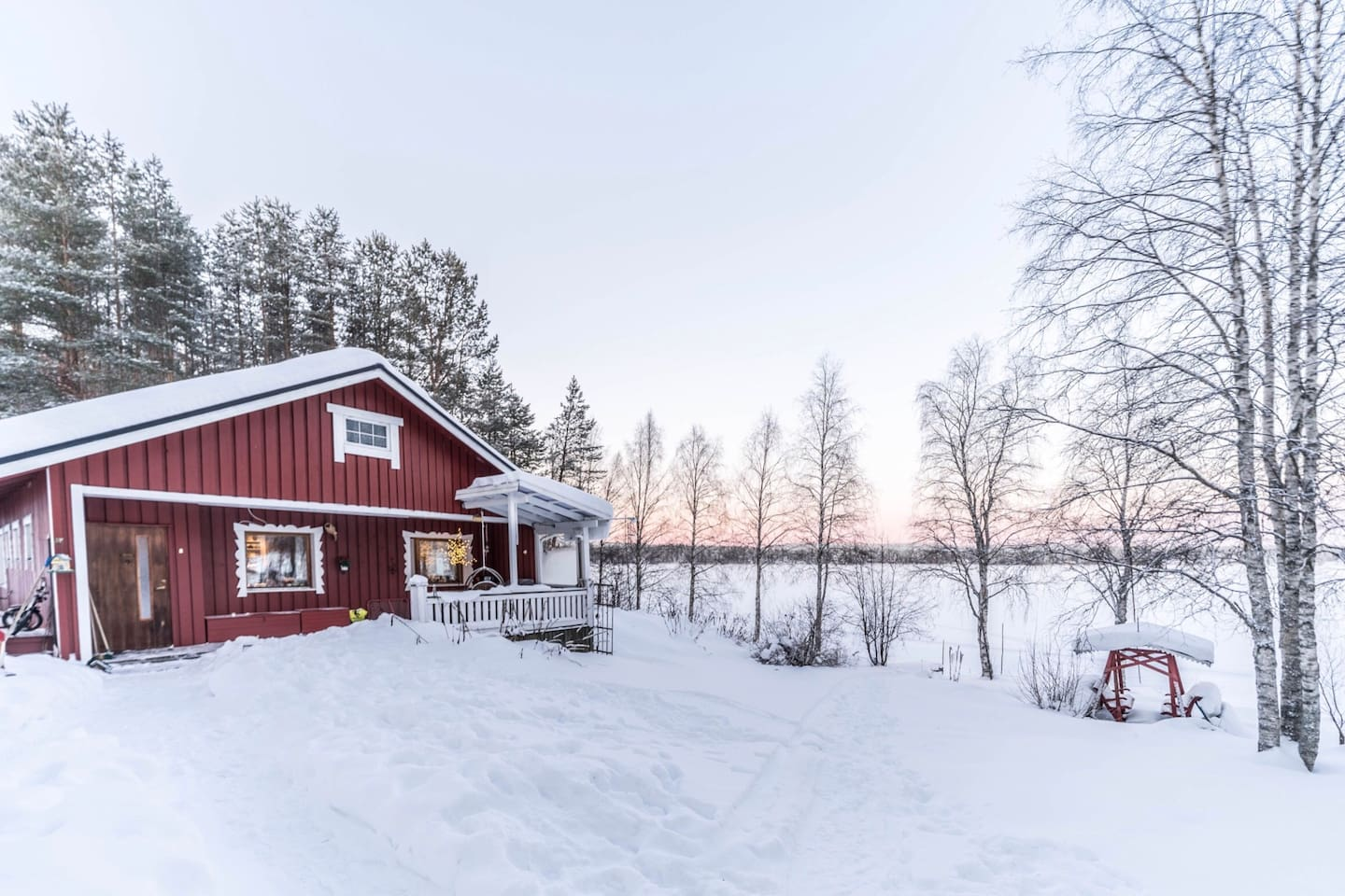 Lodge in winter day