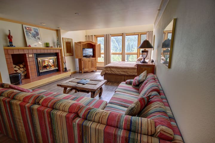 Fireplace, River & Mountain Views, walk to the ski slopes, full kitchen condo! Liftside 402