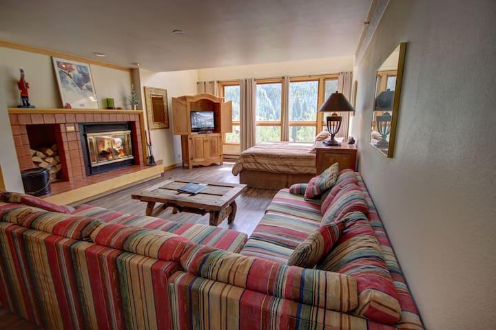 Fireplace, River & Mountain Views, walk to the ski slopes, full kitchen condo! Liftside 402