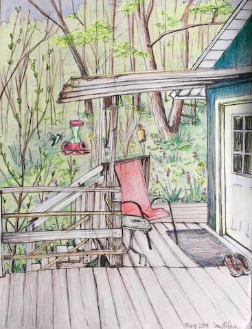 This is a drawing of the cottage front porch by Corrine .