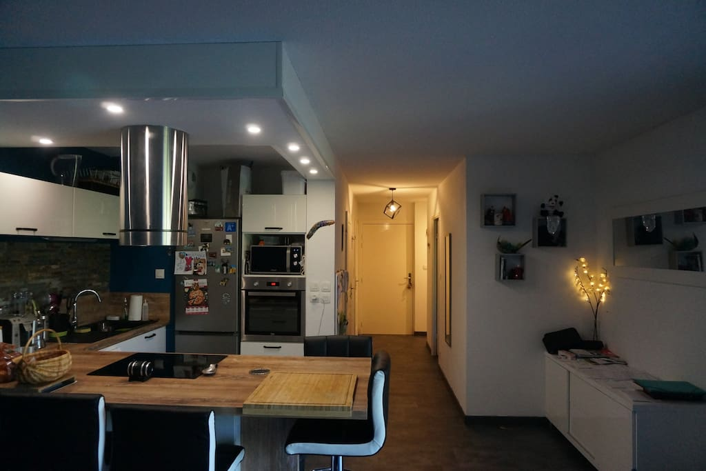 Vue cuisine + couloir d'entrée.