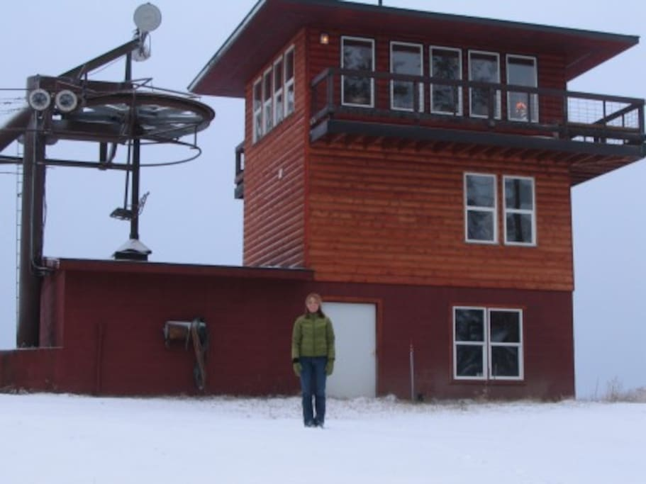 Cabin is built on top of a historic down hill ski lift. Ski bowl is currently not operated.