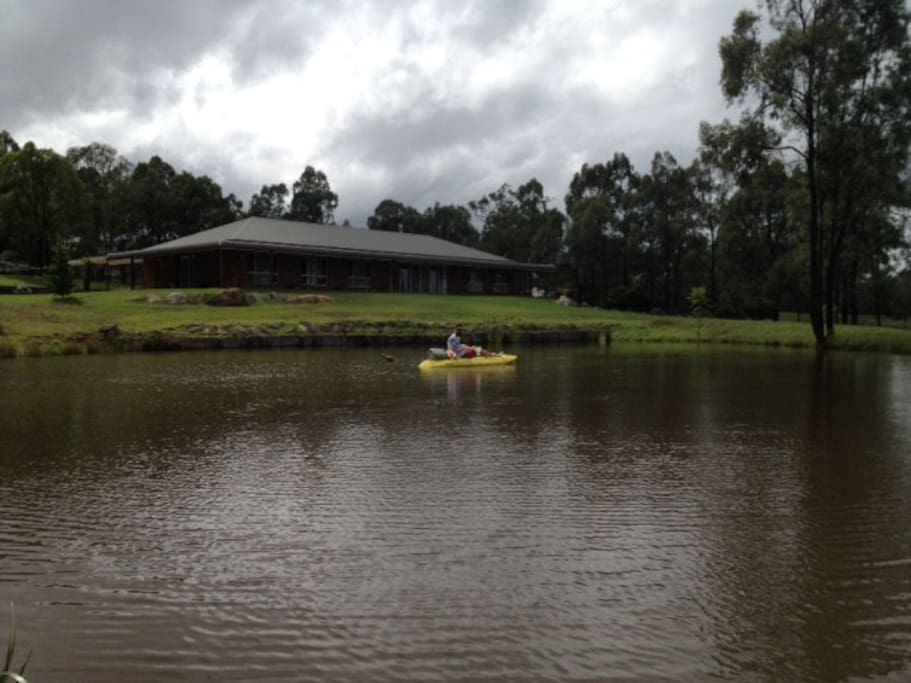 You are very welcome to use my kayak and have a paddle on our dam, but beware of our pet crocs Snappy n Crikey.