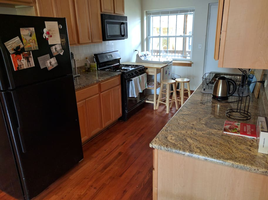 Kitchen is spacious and has plenty of counter space