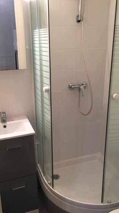 Salle de bain (douche, lavabo, WC, chauffage, rangements)