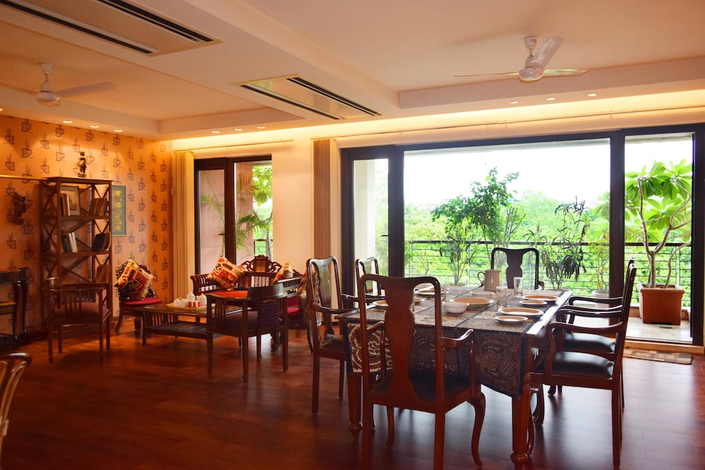 The Dining area overlooking the balcony