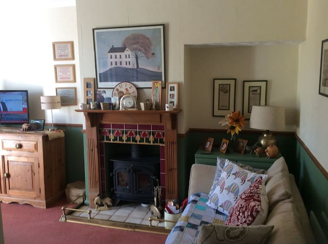 Wood burner in the sitting room