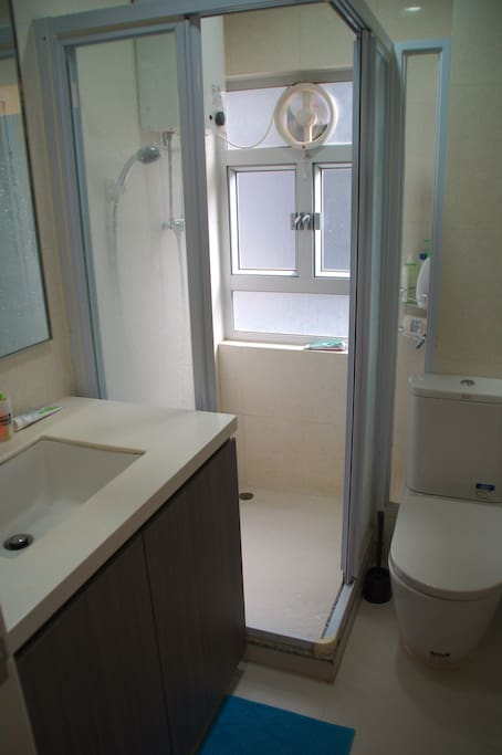 Clean bathroom with perfectly working shower
