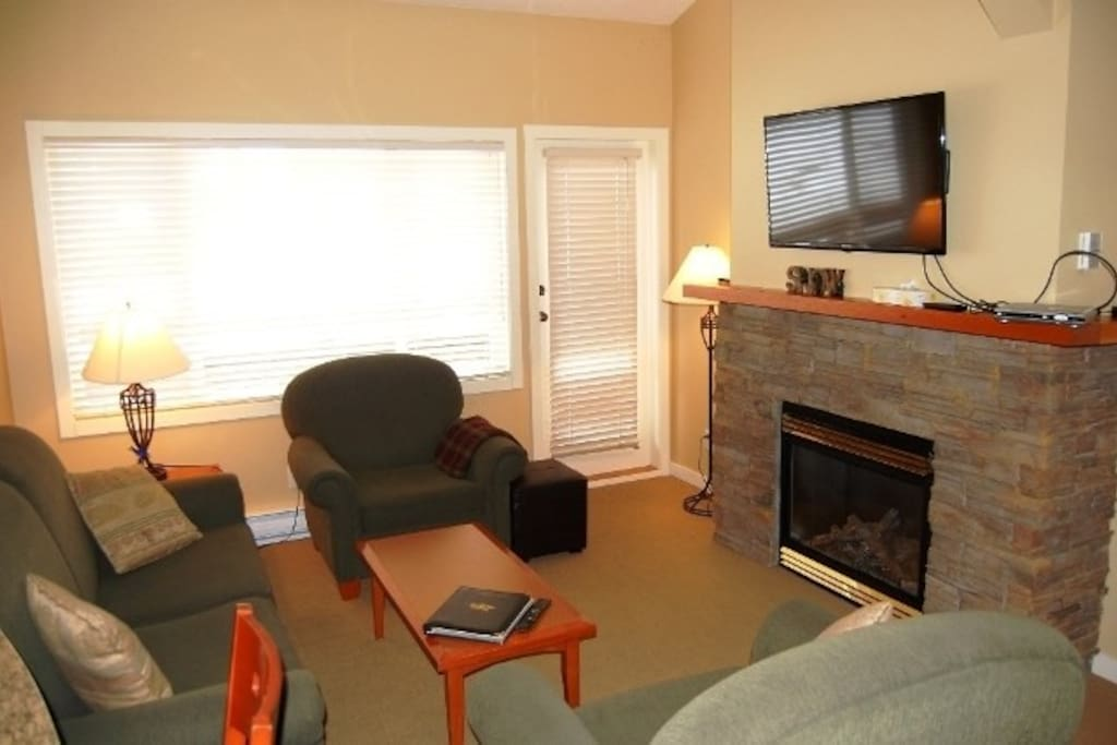 The living area features comfortable furnishings, a cozy fireplace, and a flat screen TV