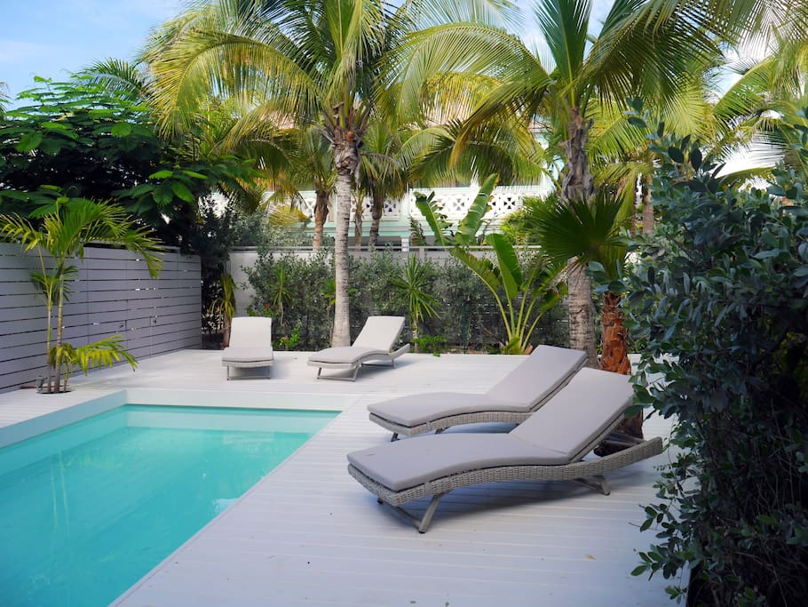 loungers around the pool