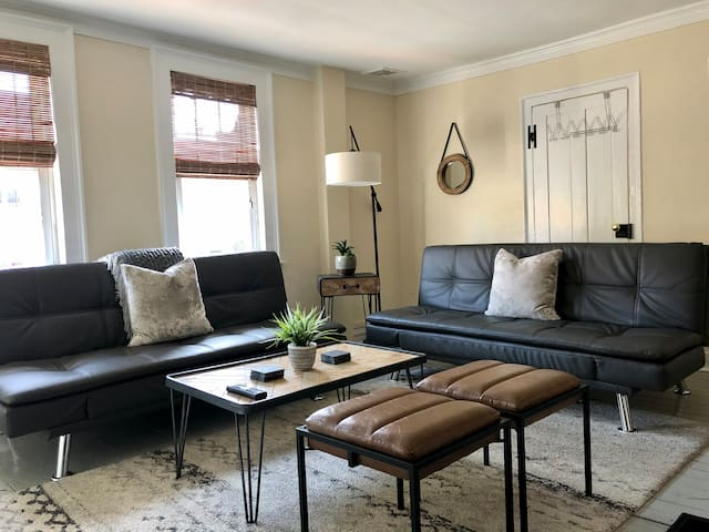 Living room with 2 convertible twin beds.