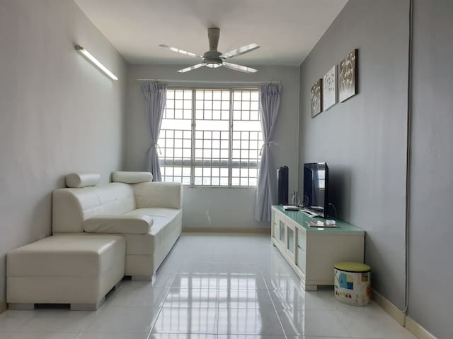 Living room with 100mbps wifi and TV