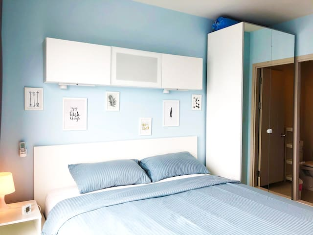 Bedroom with cabinet & dresser