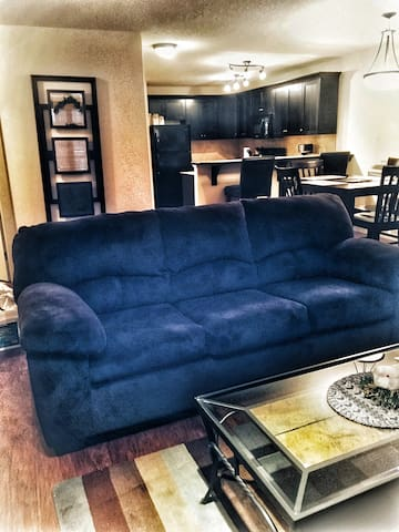 Living room couch with hide a bed