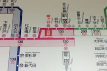 """""""Keio New Line""""route map."""