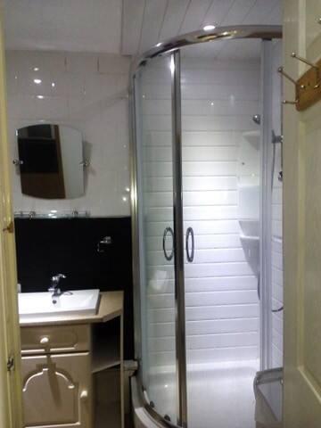 En suite bathroom from bedroom.