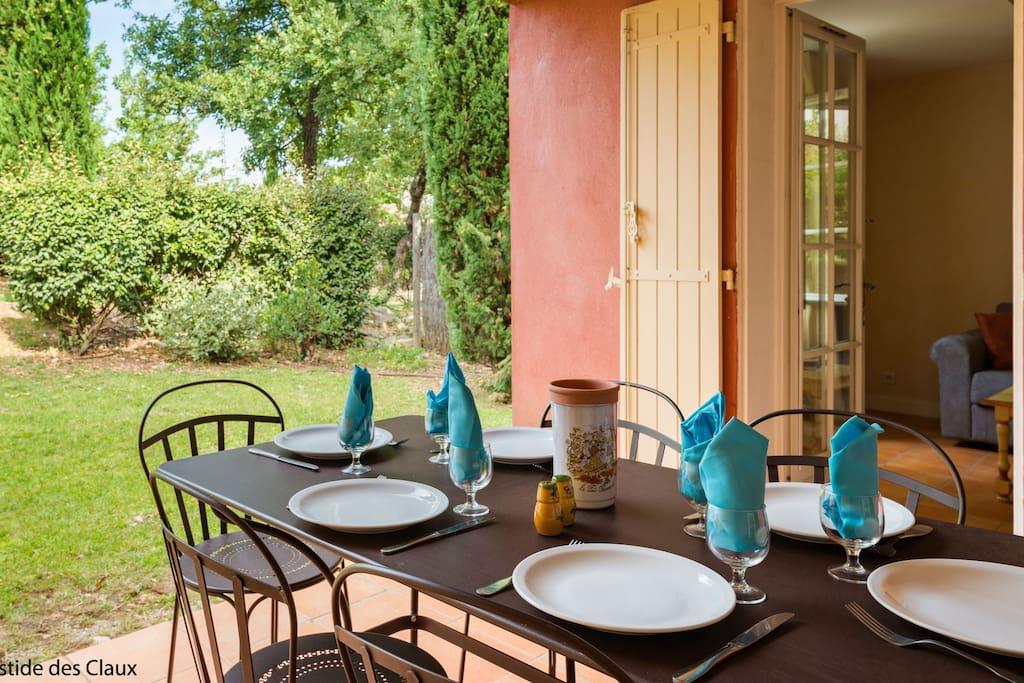 Enjoy meals outside on the terrace.