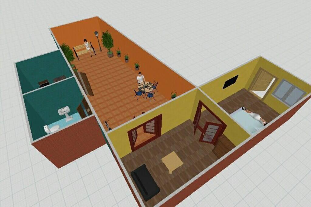 plano de todo el espacio de la casa