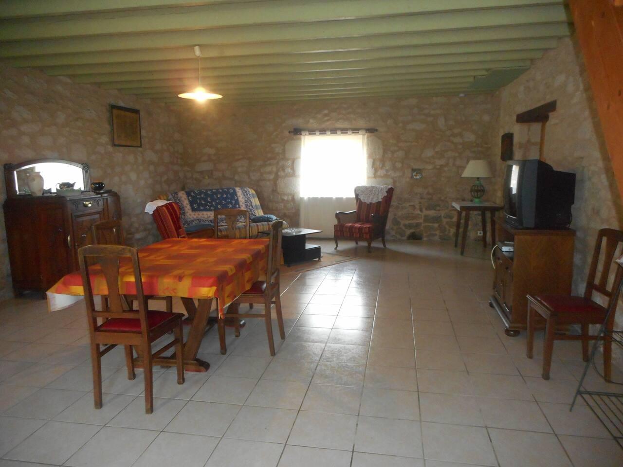 Grande pièce de 56m2 avec séjour avec banquette-lit 2 personnes, salle à manger