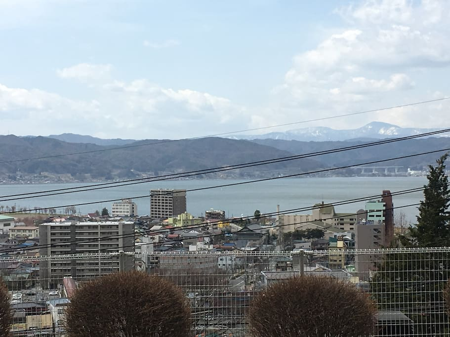 Lake Suwa and North-Alps in front of your sight