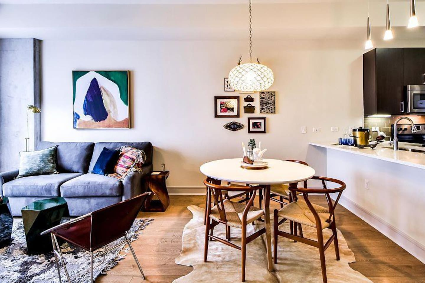 This eclectic unit was professionally designed by an Interior Designer.