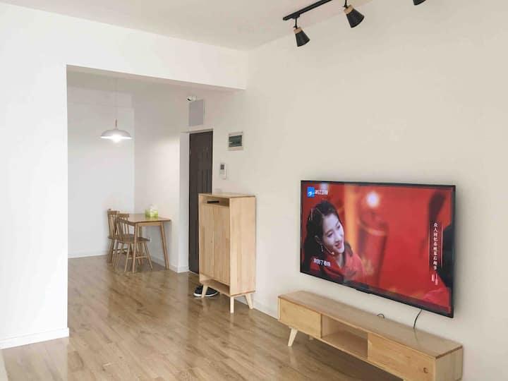 磁器口地铁一号线一室一厅日式极简大床房+空气净化+智能家居+洗衣烘干+做饭